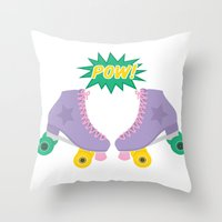 roller derby Throw Pillows featuring Roller Derby POW! by Otterly Design