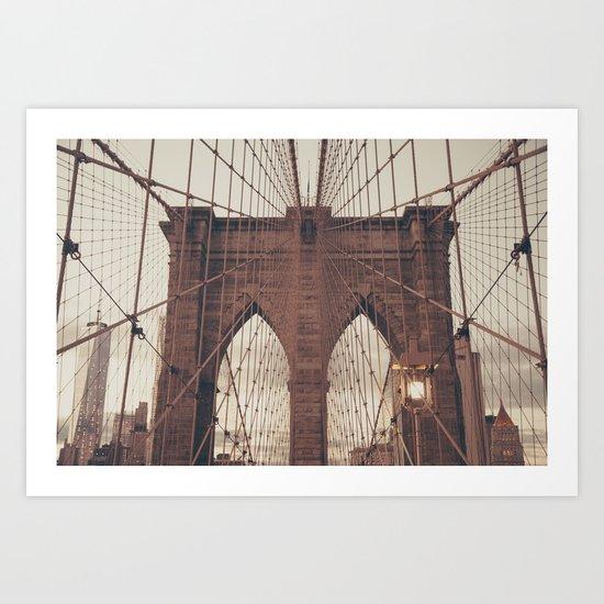 Moody Brooklyn Bridge Art Print