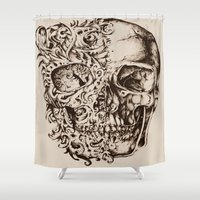 skeleton Shower Curtains featuring Skeleton by ViviRajski