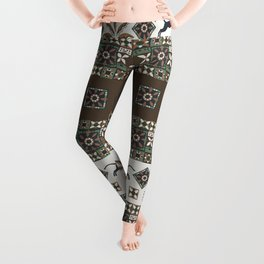 Vintage Boho Decor with Panthers and Palms in Brown and Green Leggings