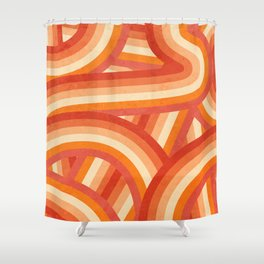 Red, Orange and Cream 70's Style Rainbow Stripes Shower Curtain