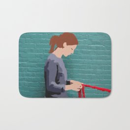 Graffiti girl braiding Bath Mat