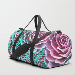 Purple Succulent Turquoise Geometric Duffle Bag
