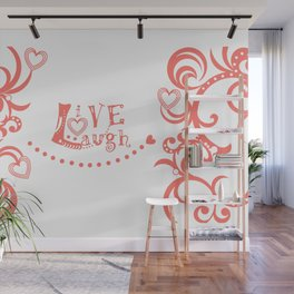 Live Love Laugh in Coral Wall Mural