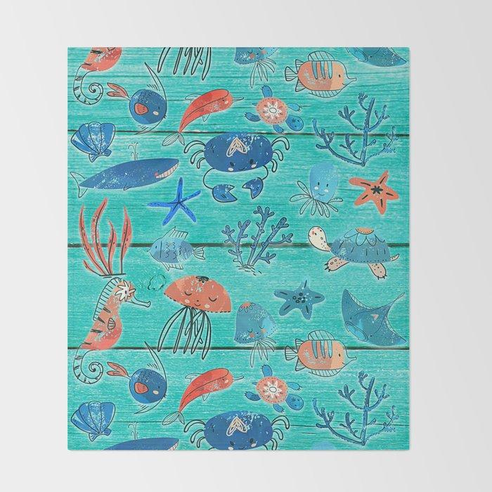 Blue & Orange Under the Sea Throw Blanket