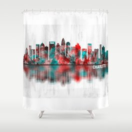Charlotte North Carolina Skyline Shower Curtain