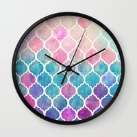 pink floyd Wall Clocks featuring Rainbow Pastel Watercolor Moroccan Pattern by micklyn
