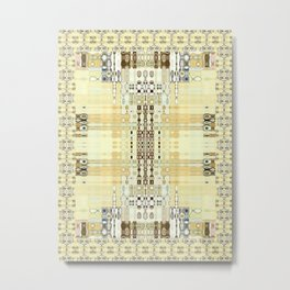 Abstract Neutrals with Edging (Rug Style) Metal Print