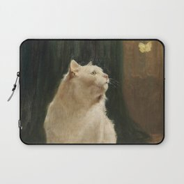 White Cat and Butterflies Laptop Sleeve