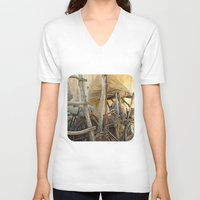 bicycles V-neck T-shirts featuring Brooms and Bicycles  by Ethna Gillespie