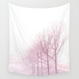 Pink winter trees Wall Tapestry