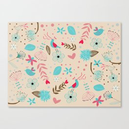 Singing birds in flowers Canvas Print