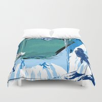 climbing Duvet Covers featuring Ice Climbing by Robin Curtiss