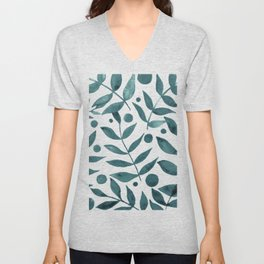 Watercolor berries and branches - teal grey Unisex V-Neck