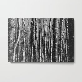 Abstract Forest Texture, Black & White Metal Print