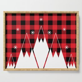 Red Buffalo Plaid Mountains Serving Tray