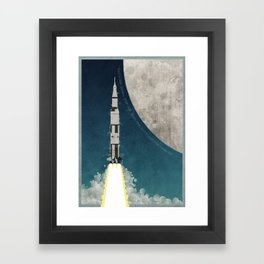 Apollo Rocket Launch to the Moon Framed Art Print
