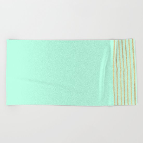 Mint and Gold stripes Beach Towel