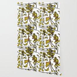 Golden Petals on Branches Wallpaper