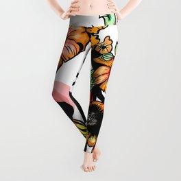 Flowres color face Leggings