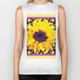 Yellow Sunflower  & Purple Pattern Art Biker Tank