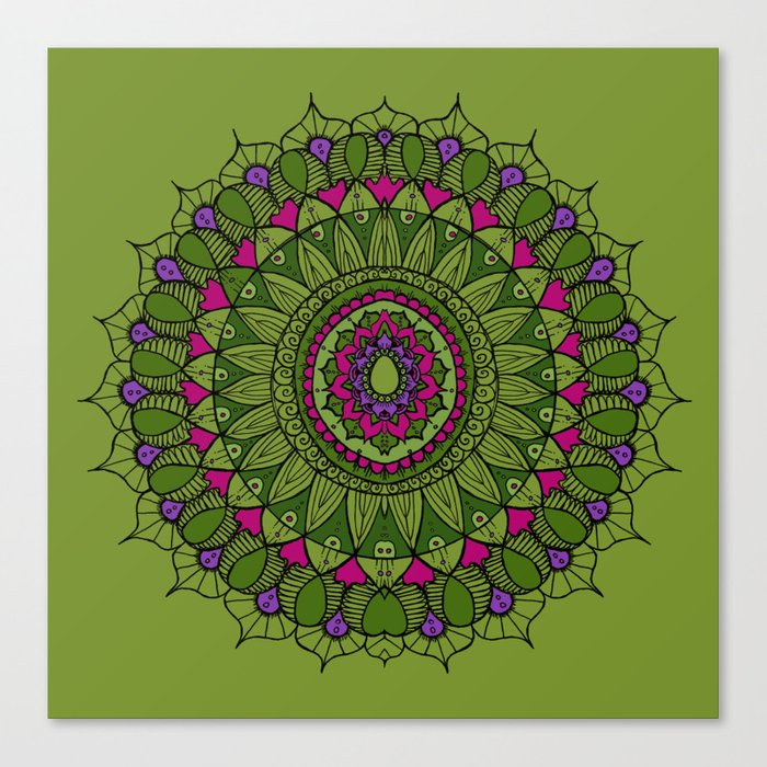 Bohemian Mandala in Green with Pink and Purple Canvas Print