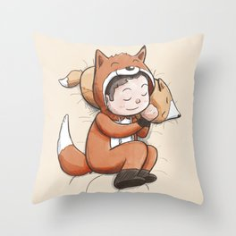 Boy Sleeping Wearing Fox Pajamas Throw Pillow