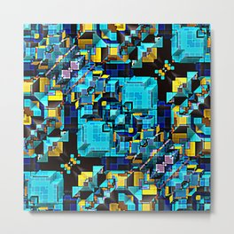 Blue Technology Abstract Metal Print
