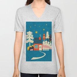 Festive Winter Hut Unisex V-Neck