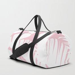 White on Pink Tropical Banana Leaves Pattern Duffle Bag