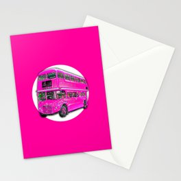 Dashing Touristic Pink Bus Stationery Cards