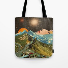 Face on the mountain Tote Bag