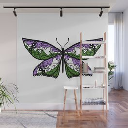 Fly With Pride: Genderqueer Flag Butterfly Wall Mural
