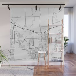 Kingston Map, Canada - Black and White Wall Mural