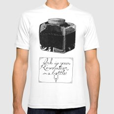 The Pen is Mightier White Mens Fitted Tee MEDIUM