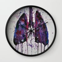 lungs Wall Clocks featuring Lungs by Kiera Wilson