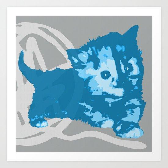Here Kitty, Kitty - bright blue/grey Art Print