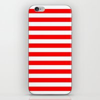 stripes iPhone & iPod Skins featuring Horizontal Stripes (Red/White) by 10813 Apparel