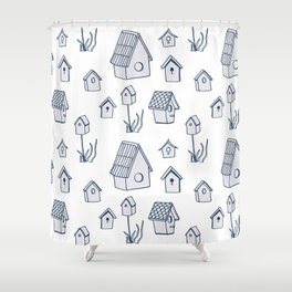 Bird House Drawings, Pattern Shower Curtain