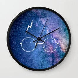 Space Galaxy Potter Glasses Lightning Scar Wall Clock