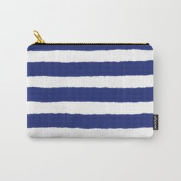 Nautical Navy Blue and White Stripe Print Carry-All Pouch