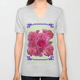 RED & PINK  ART NOUVEAU ROSES Unisex V-Neck