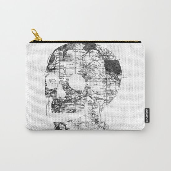 Skull Wanderlust Black and White Carry-All Pouch