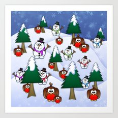 Rocking Robin In A Winter Wonderland. Art Print