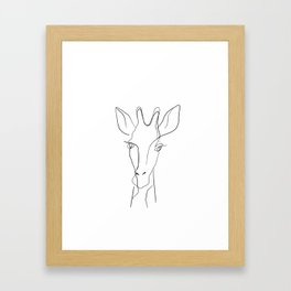 One line giraffe painting Framed Art Print