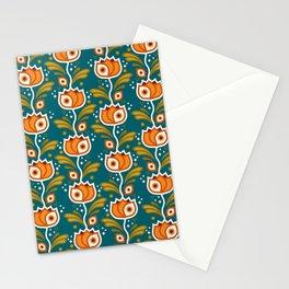 One Eyed Tulips – Orange & Teal Stationery Cards