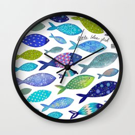 bunch of little blue fish Wall Clock