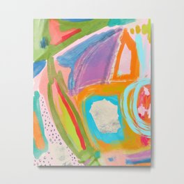 Shapes and Layers no.18 - Abstract Painting Tropical Metal Print