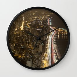 Lakeshore Chicago Night Shot Wall Clock