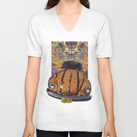 woodstock V-neck T-shirts featuring VW ~Bug power by Bruce Stanfield
